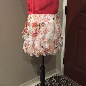 Floral Peach mini skirt with Ruffles